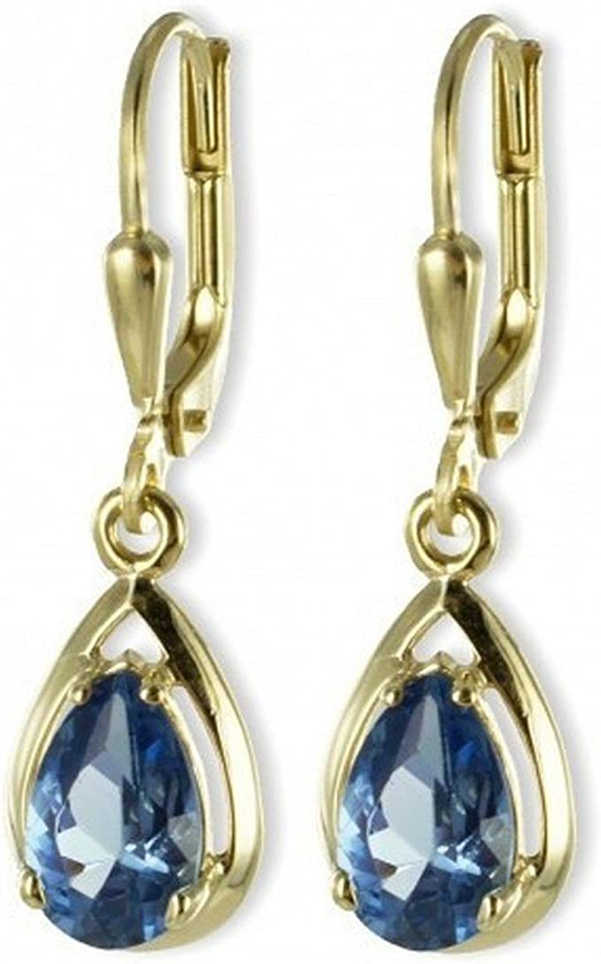 333 Gold Topmodische Damen Ohrringe Brisur Ohrhänger Tropfen mit Blautopas echt