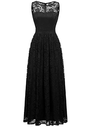 894b83c53601 Wedtrend Women's Floral Lace Long Bridesmaid Dress Party  GownWTL10007B-BlackS