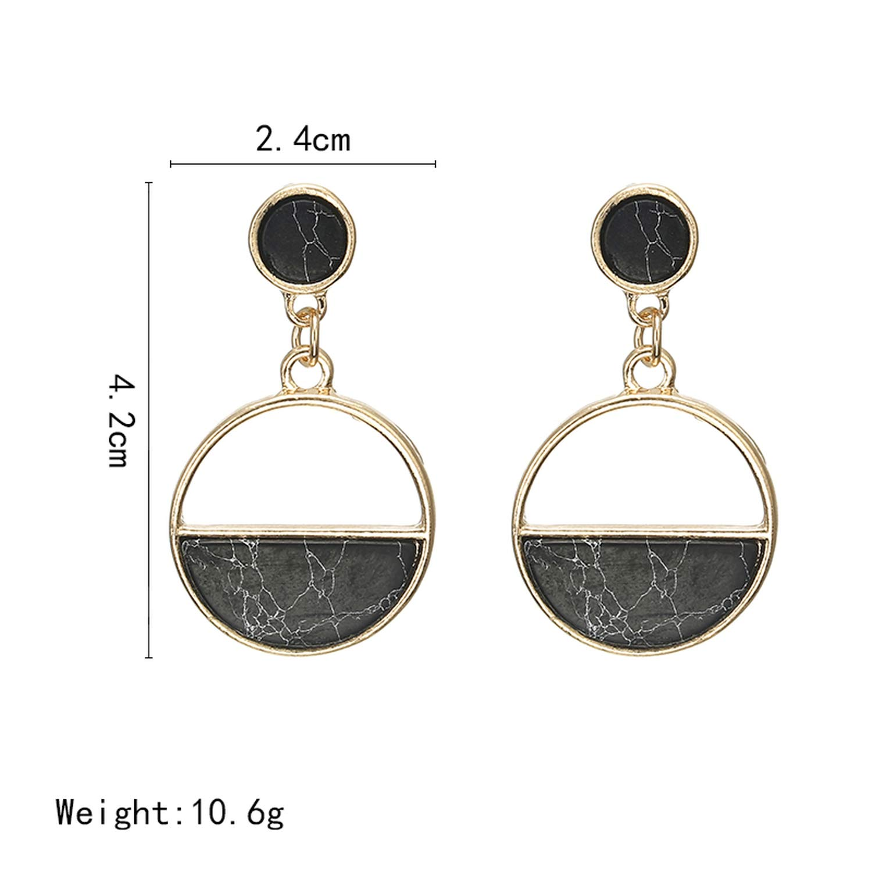 Handmade fashion simple geometric circular white black long earrings girls popular earrings temperament jewelry accessories