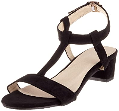 c2c0788be0f SJJH Sandals with Low Chunky Heel and Faux Nubuck Materail Casual Sandals  with Plus