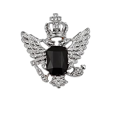 48ca532b05d Buy Generic Vintage Crown Eagle Pattern Collar Brooch Pin For Men Silver  And Black-56001083Mg Online at Low Prices in India | Amazon Jewellery Store  ...