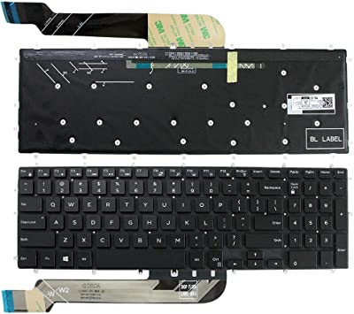 New Black Backlit Keyboard for Dell Inspiron Gaming 15-7566 Red Printing US
