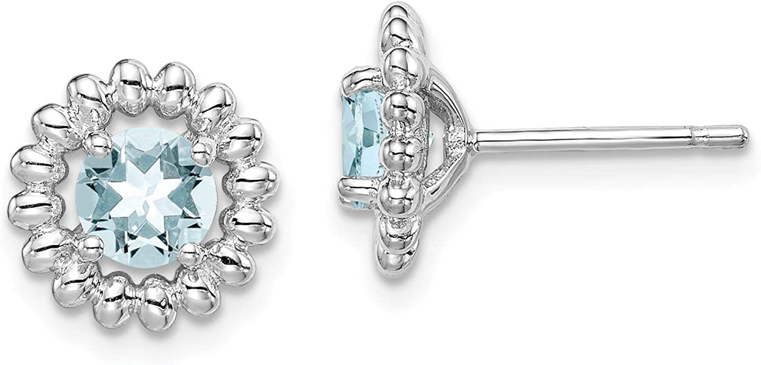 925 Sterling Silver Rhodium-plated Round Aquamarine March Stone Stud Post Earrings