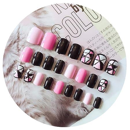 Buleerouy - Juego de 24 uñas postizas acrílicas, diseño de ...