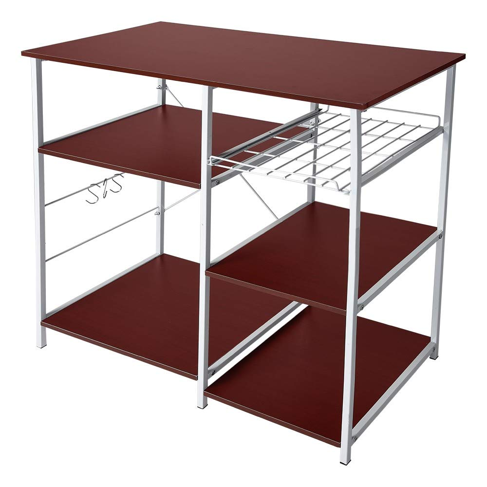3-Tier Baker's Rack, Microwave Cart Oven Stand with 3 Hanging Hooks & Spice Rack for Kitchen Storage, Steel Plate Type, Wine Amiley 【Ship from USA】 (Wine) by Amiley Kitchen Rack (Image #1)