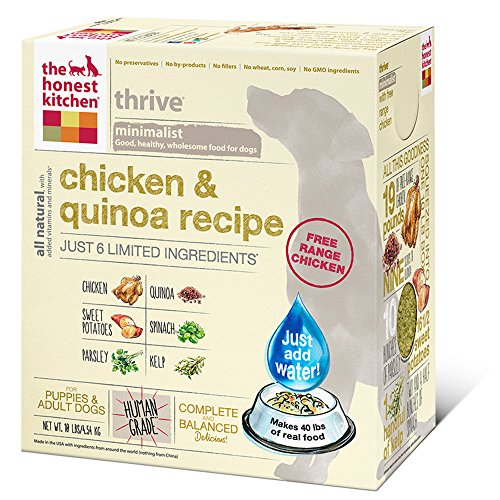 The Honest Kitchen Thrive Organic Whole Grain Dog Food - Natural Human Grade Dehydrated Dog Food, Chicken & Quinoa, 10lbs (Makes 40 lbs)