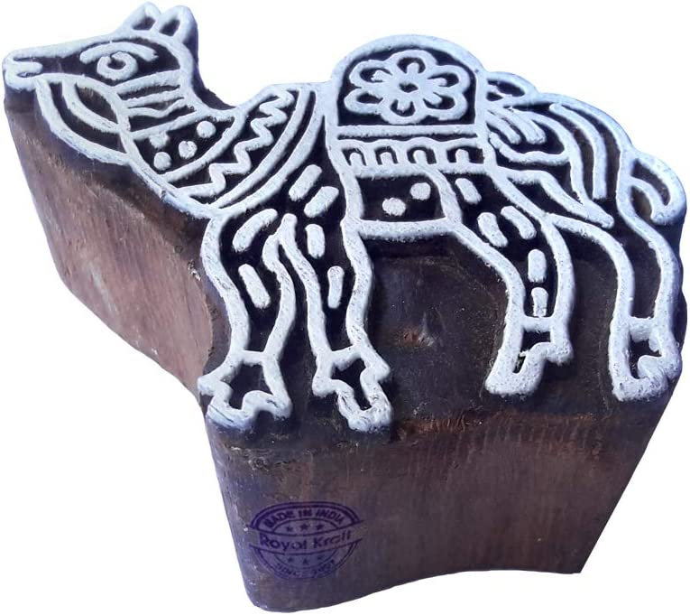 Classy Elephant Animal Pattern Wooden Block Stamp DIY Henna Fabric Textile Paper Clay Pottery Block Printing Stamp