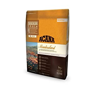 ACANA Meadowland Dry Cat Food, 12 LB. Bag, Free-Run Poultry, Freshwater Fish, Whole NEST-Laid Eggs