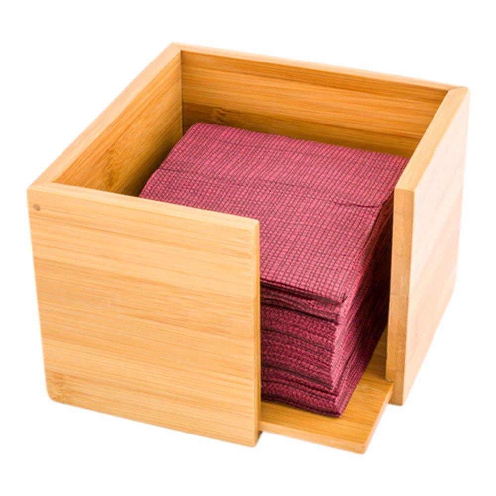 Bamboo Cocktail Napkin Holder, Wooden Napkin Holder - Natural Color - 5 Inches - Square Cocktail Napkin Dispenser - 5.3'' x 5.3'' - 1ct Box - Restaurantware