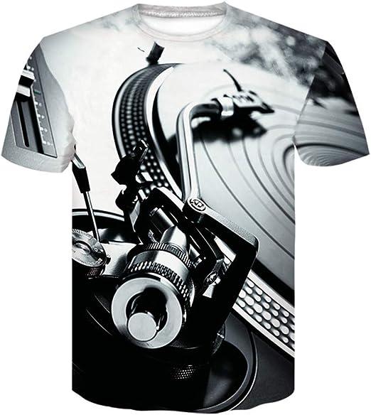 Mothcattl - Camiseta de manga corta para hombre, cuello redondo, tocadiscos 3D, para DJ y música de audio (M-XXXXL), poliéster, Negro, blanco, xxx-large: Amazon.es: Ropa y accesorios