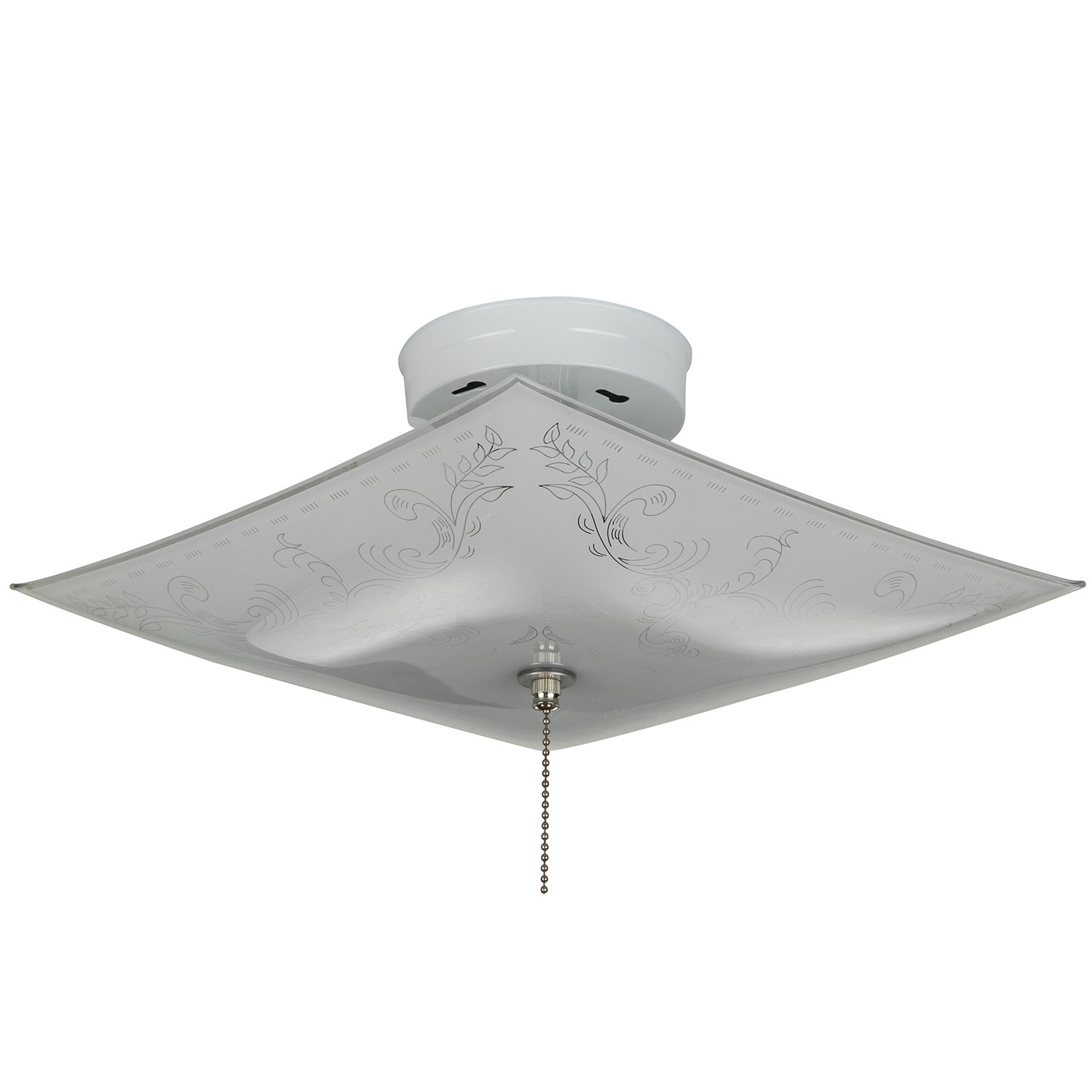 Sunlite 112pc 12 inch square pull chain 2 lite decorative ceiling fixture white finish with ornate white glass flush mount ceiling light fixtures