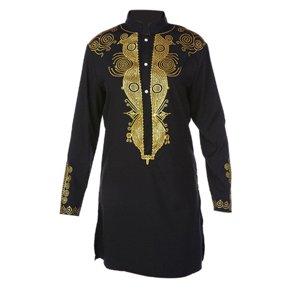 Zhuhaixmy Herren afrikanisch Nation Kleid Kostüme Tribal Hemd Gedruckt Lange Ärmel Dashiki Kleidung