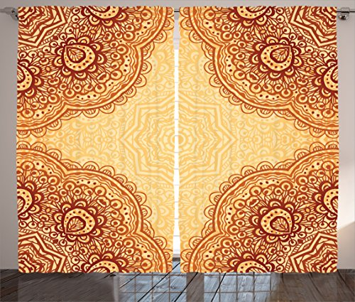cor Collection, Ethnic Bohemian Style Mandala Pattern Traditional Indian Structural Art Print Home Decor, Living Room Bedroom Curtain 2 Panels Set, 108 X 90 Inches, Red Gold (Chic Collection Wall)