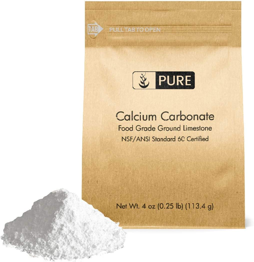 Calcium Carbonate Powder (4 oz), Eco-Friendly Packaging, Dietary Supplement, Antacid, Food Preservative, & More
