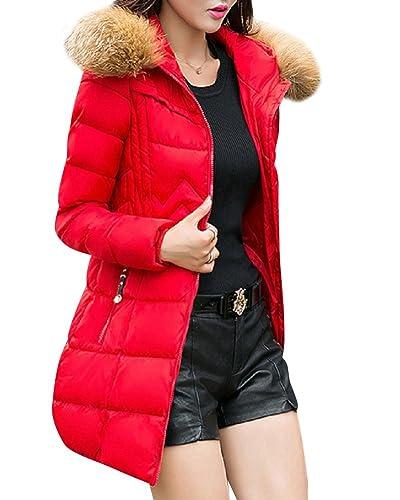 Mujer de manga larga Abrigo acolchado Chaqueta larga Coat de de Manga Larga