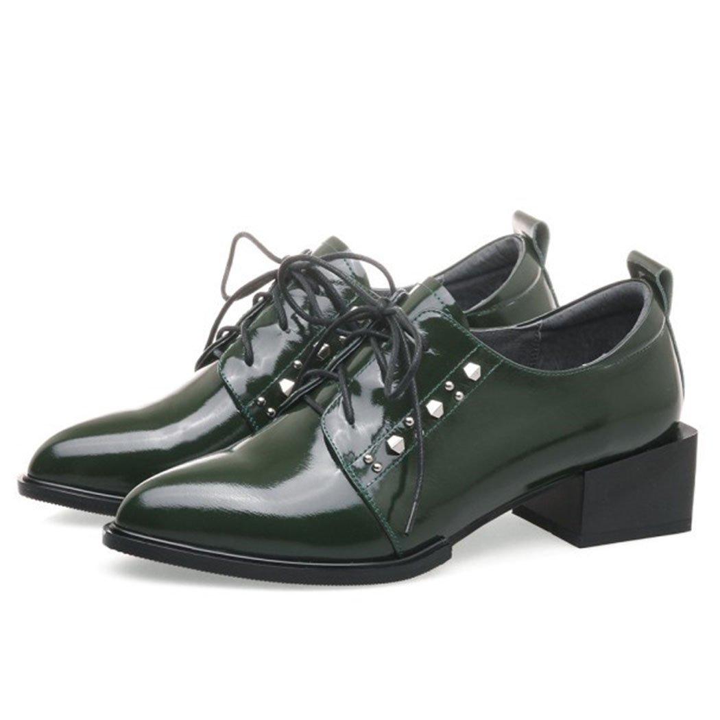 GAOLIXIA Damen Damen Echtes Leder Arbeitsschuhe Spitz Nieten Schuhe mit hohen Absätzen Mit Schwarz Grün Mode Stiefel Pumps Pumps