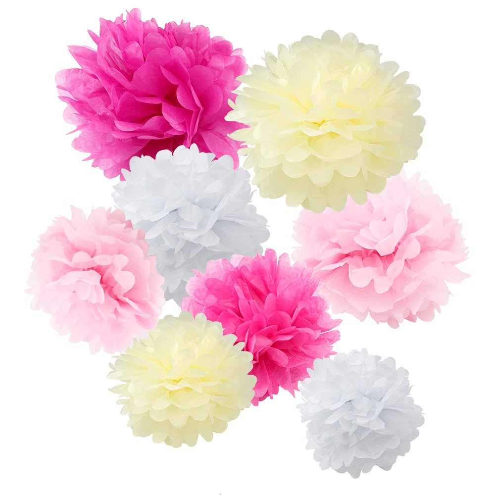 WYZworks Set of 8 (Assorted Pink and Cream Color Pack) 8' 10' 12' Tissue Pom Poms Flower Party Decorations for Weddings, Birthday, Bridal, Baby Showers Nursery, Décor