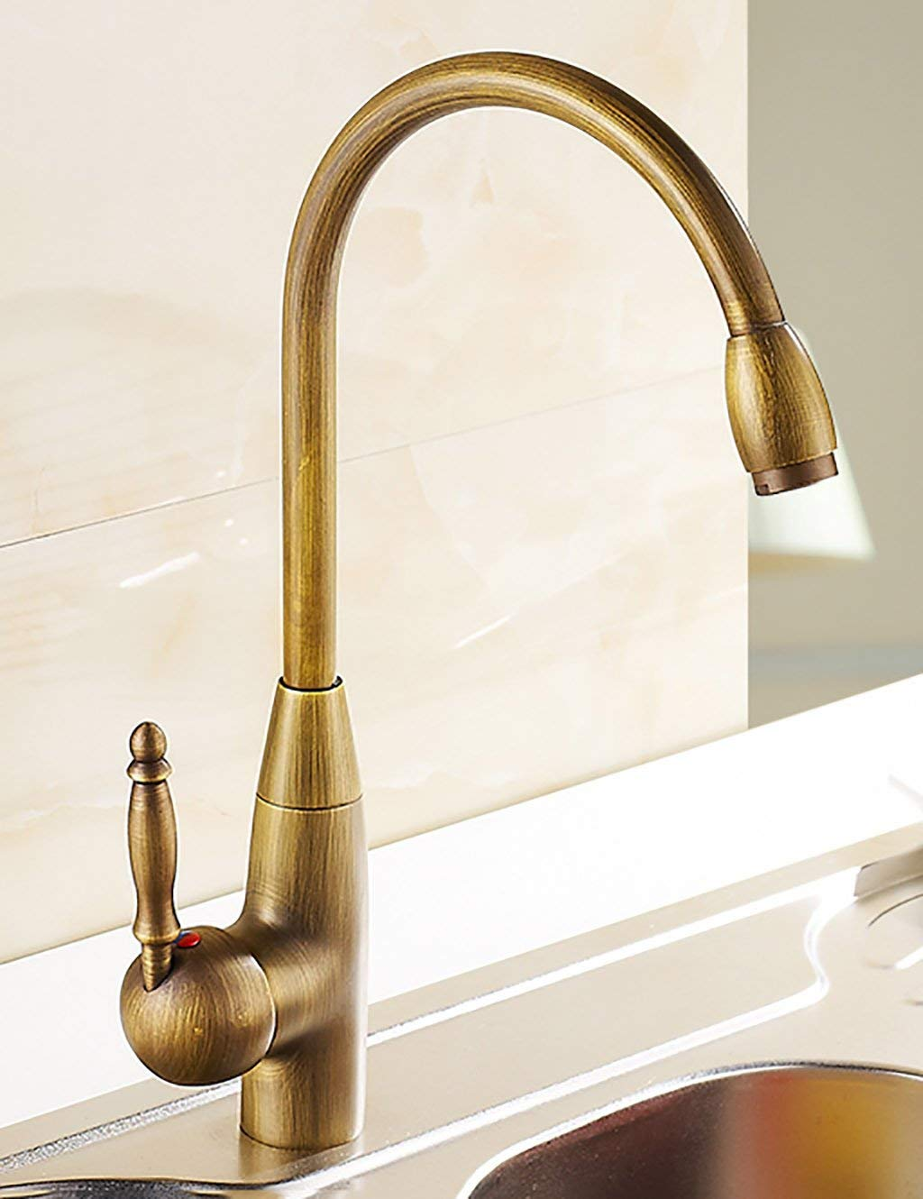 DYR Faucet European Style Household Kitchen Faucet Copper greenical Hei? And Cold Turning Increases Single Hole Single Head