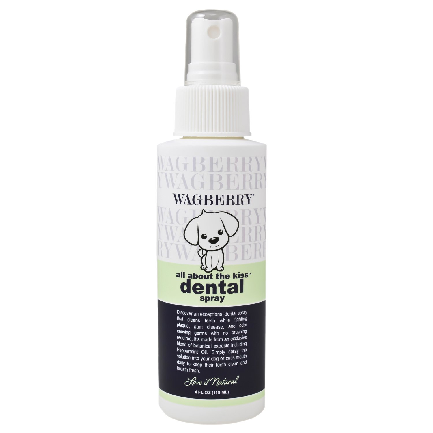 Wagberry All About The Kiss Dental Spray - Eliminate Bad Breath, Fights Plaque, Tarter & Gum Disease, Best Oral Health Care for Dogs with Peppermint - Love IT Natural, Made in USA, 4oz