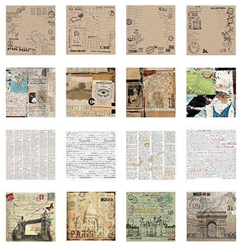 16 Sheet Vintage DIY Decorative Stickers Background Sticker - Vintage Decal Sheet