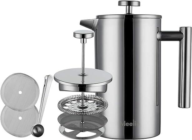 Meelio Máquina de café de la prensa francesa con calibración, doble pared 18/8 de acero