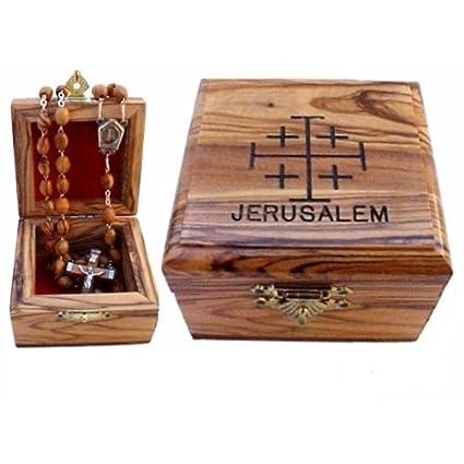 Primera Comunión rosario caja – caja – Madera de olivo de Belén