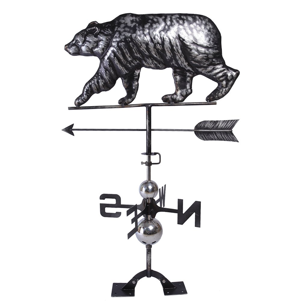 IORMAN Original Handcrafted 3D Black Bear Weathervane Directions Symbol for Farmhouse Barn Rustic Outdoor Garden