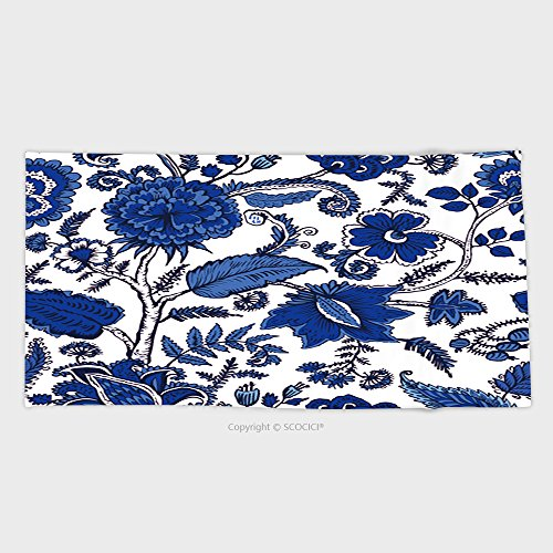 55.1W x 27.5L Inches Cotton Microfiber Bathroom Towels Ultra Soft Hotel SPA Beach Pool Bath Towel Seamless Pattern With Fantasy Flowers Natural Wallpaper Floral Decoration Curl Illustration 573742942 (Jewish Hat With Curls)