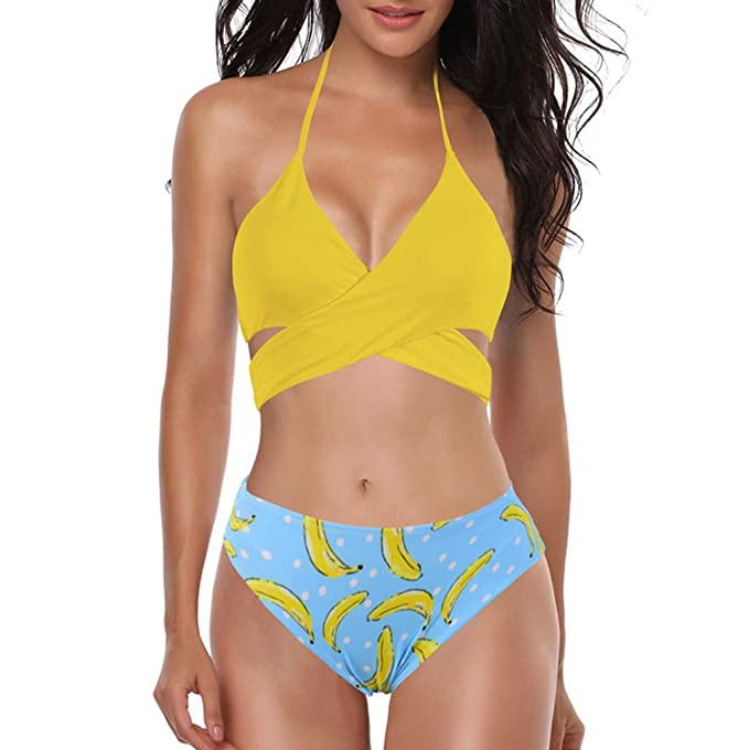 53764b164b6 Amazon.com  Wugeshangmao Bikini Swimsuit for Women Sexy Bandage Bra Solid  Bathing Suit Swimwear Teen Girl s Beachwear  Clothing