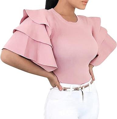 Ropa Camisetas Mujer, Camisas Mujer Verano Elegantes sólido Capas o - Noche Casual Tallas Grandes Camisetas Mujer Manga Corta Camiseta Blusas Tops para Mujer Fiesta en la Playa (Rosa, XL): Amazon.es: Ropa