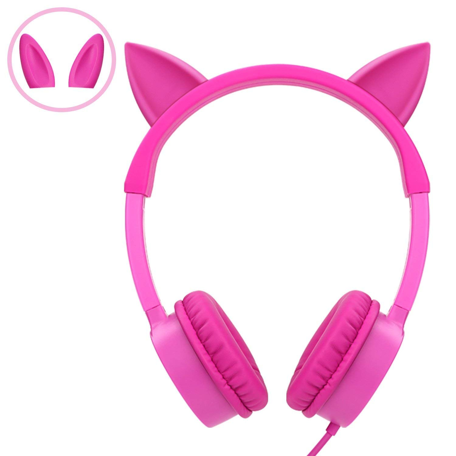 Kids Headphones, Vogek Cat/Bunny Ear Wired On-Ear Headphones Headsets with 85dB Volume Limited, Children Headphones for Kids - Pink by Vogek