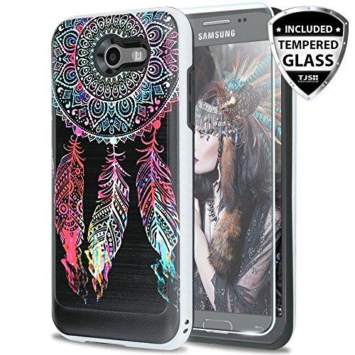 TJS Galaxy J3 Emerge/J3 Prime/Amp Prime 2/Express Prime 2/Sol 2/J3 Mission/J3 Luna Pro/J3 Eclipse Case, with [Tempered Glass Screen Protector] Hard Inner Layer Metallic Brush Finish Case (Catcher)
