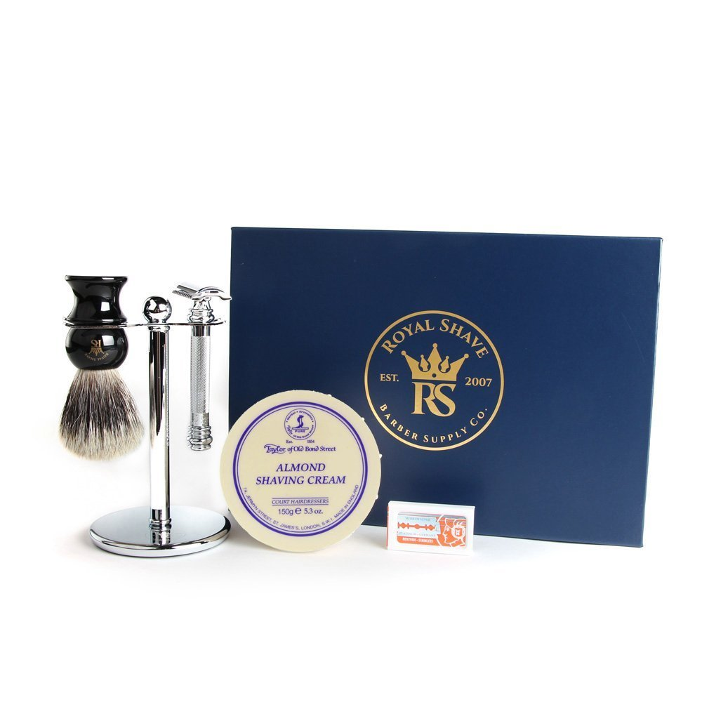 Merkur Barber Pole 38C 5 Piece Wet Shaving Set (Almond)