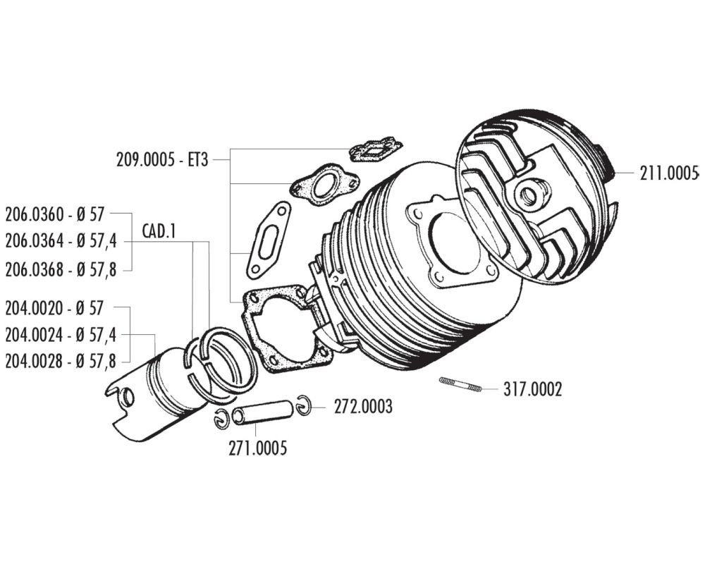 kolbenkit Polini 130 ccm Dual de entrada Para Vespa 125 ETS, PK, primavera 2T, primavera ET3 2T, XL primavera ET32T