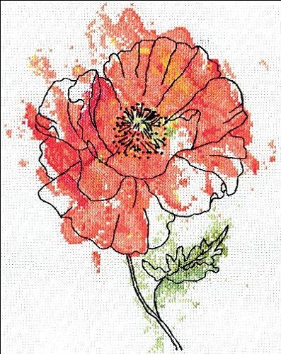- Peach Floral Counted Cross Stitch Kit-8
