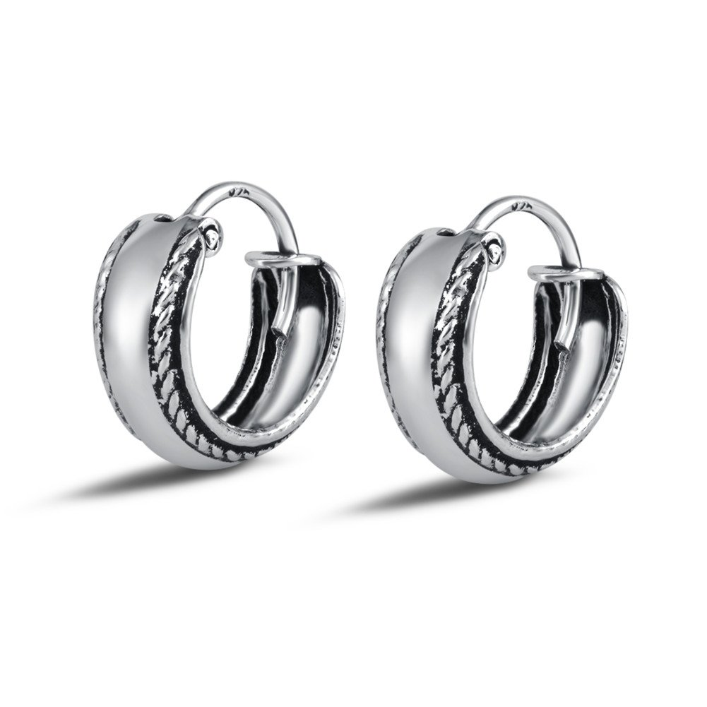 Agvana Oxidized Sterling Silver Vintage Small Hoop Earrings For Women Girls Diameter 12.8mm