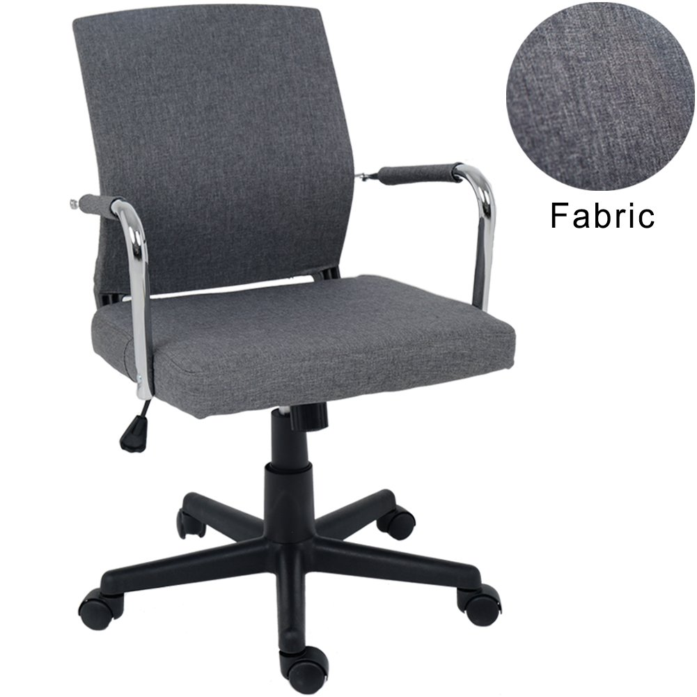 Wahson Minimalist Fabric Swivel Office Chair Grey Mid Back Adjustable Computer Desk Chair Home Office Task Chair with Arms and Tilt by