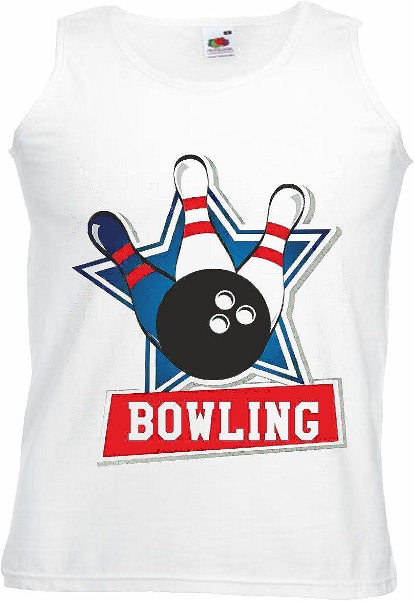 Camisa del músculo Tank Top Torneo de Bolos Bowling Bowling Bola Smiley Malvado Cono DE LA Tarde Jugando a los Bolos Bowling Manga en Blanco: Amazon.es: Ropa y accesorios