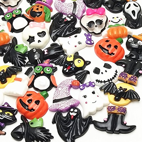LibiIine 20pcs Mix Lots Halloween Pumpkin Skeleton Owl Bat Cat Resin Flatback Button Art Album Flatback Scrapbooking Embellishments Diy Decoration Scrapbooking Craft Accessory]()