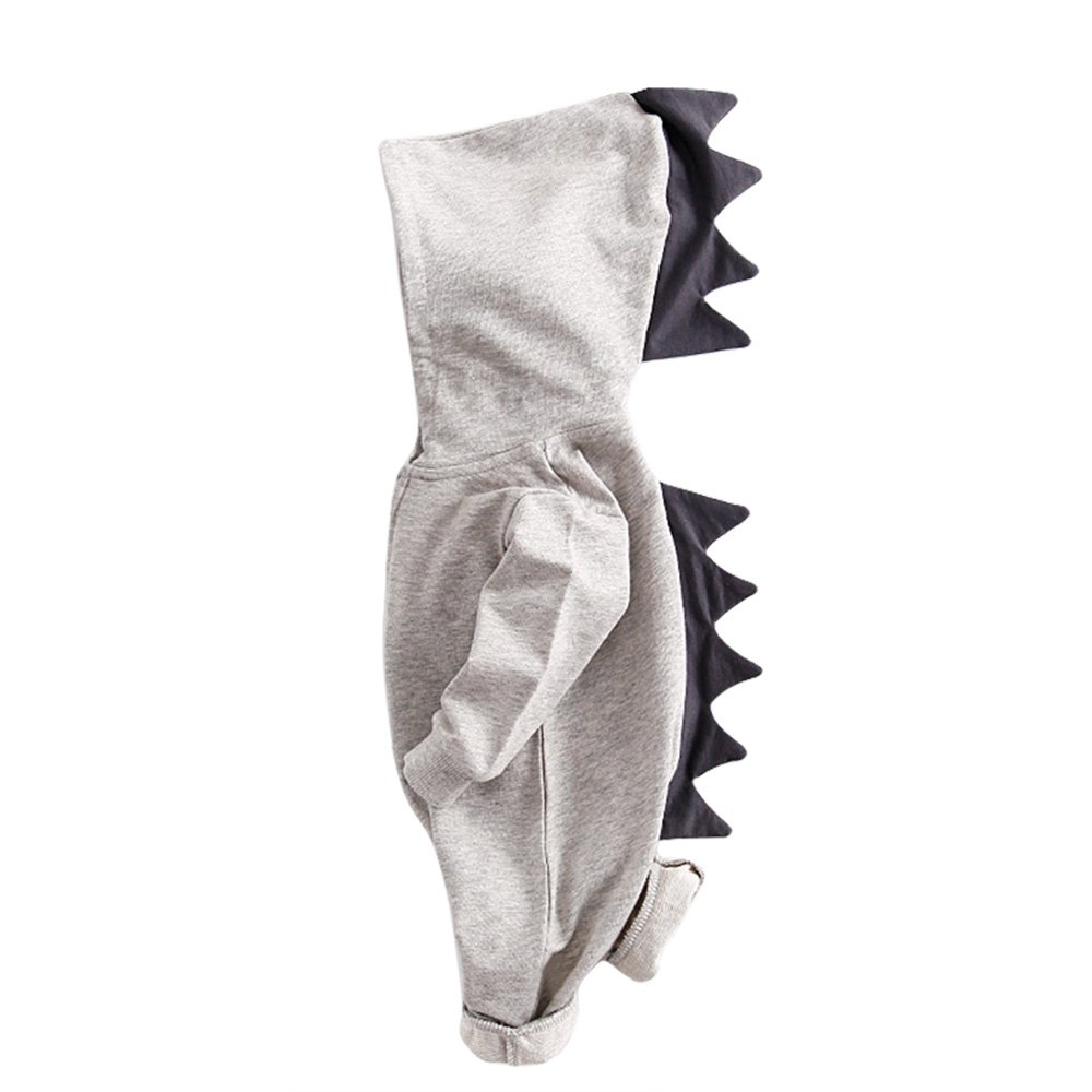 TRIEtree Baby Clothes Children Crocodile Teeth Hooded Crawling Clothing Two Way Zipper Clothes Children Gifts size 70cm (Gray)