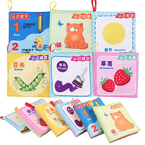 (Baby Fabric Book Early Education Toys Chinese-English Bilingual Learning Toys Baby Non-Toxic Cloth Book Washable (6 in 1 pack))