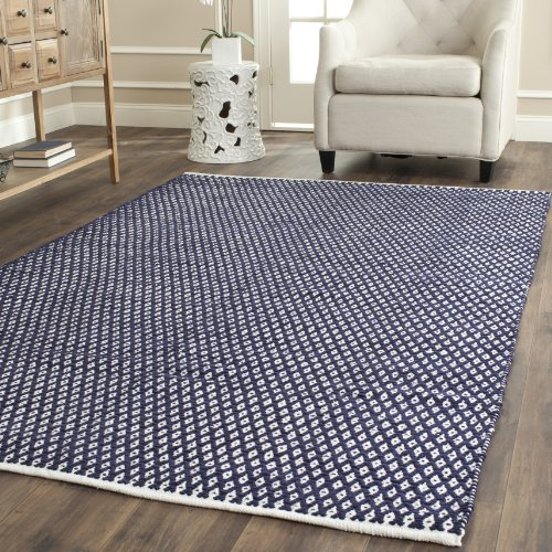 Safavieh Boston Collection BOS685D Handmade Navy Cotton Square Area Rug (4' Square) - Round Tufted Cotton Rug