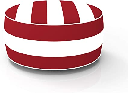 FBTS Prime Outdoor Inflatable Ottoman Red and White Stripe Round 21x9 Inch Patio Foot Stools and Ottomans Portable Travel Footstool Used for Outdoor Camping Home Yoga Foot Rest