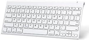 OMOTON iPad Keyboard (Stainless Steel, Rechargeable), Ultra Slim Wireless Bluetooth Keyboard for iPad Pro 12.9/ 11, iPad Air 10.9/ 10.5 inch, iPad 10.2 (8th/ 7th), iPad mini, iPhone and more, White