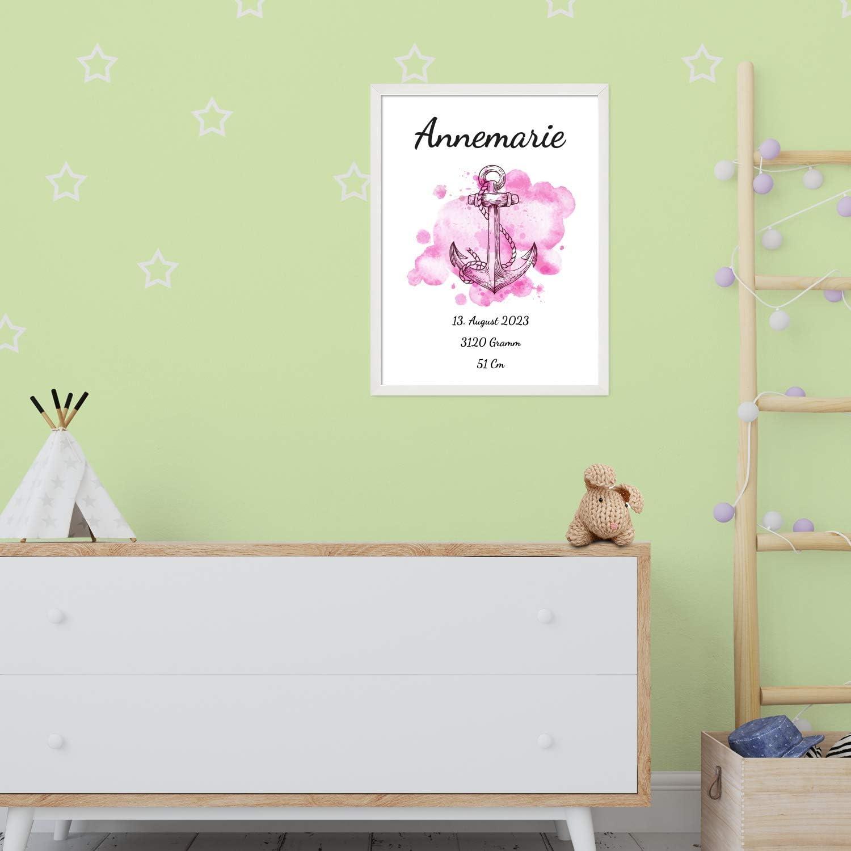 Rosa Aquarell Look mit Anker f/ür M/ädchen Personalisiertes Geschenk BILD MIT RAHMEN schlicht Poster 40x30 cm mit Wunsch-Name und Datum wei/ß Baby Geburt oder Taufe