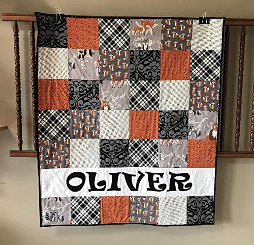 Pesonalized Fox Woodland Baby Quilt - Crib or Toddler Size - Fox - Arrows - Plaid - Dots - Black - Rust Orange - Gray by Mickey's Creations