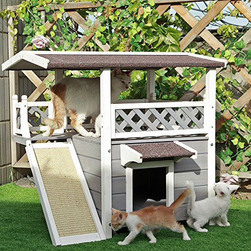 "Petsfit 2-Story Outdoor Weatherproof Cat House/Condo/Shelter with Escaping Door 30""x22""x29"" lovely"