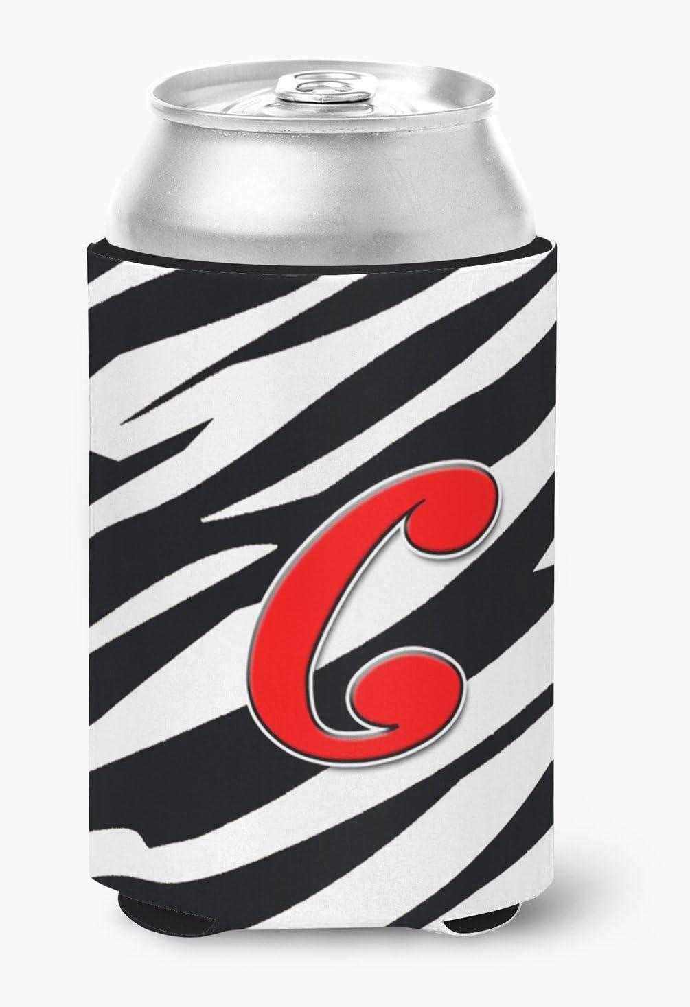 Amazon Com Caroline S Treasures Cj1024 Ccc Letter C Initial Monogram Zebra Red Can Or Bottle Beverage Insulator Hugger Can Hugger Multicolor Kitchen Dining