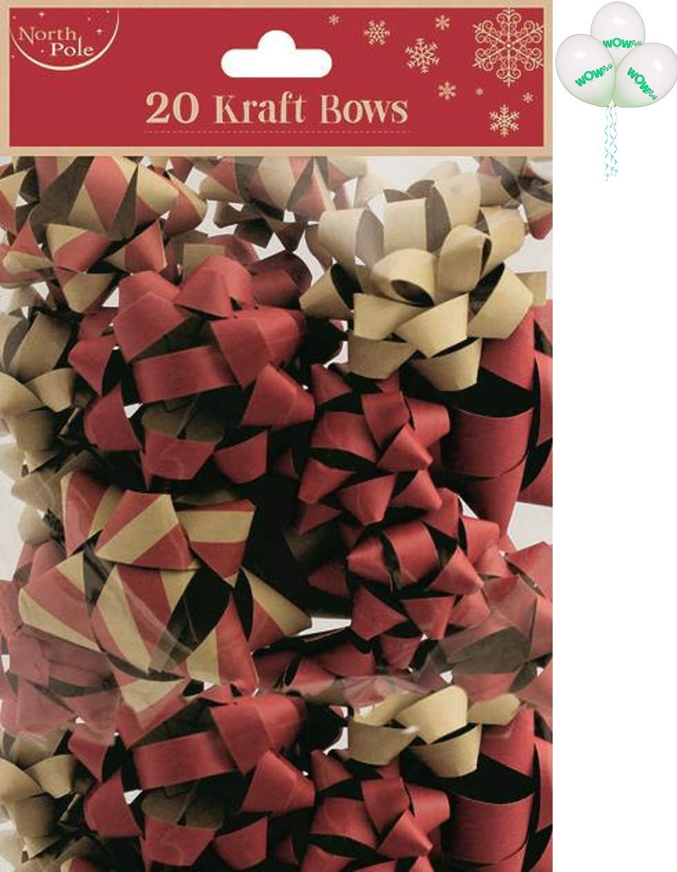 Wow Party WOW 20 x Multi-color Christmas Kraft Gift Bows with Pack of 3 balloons