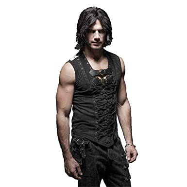 6eecb3161bb29 Punk Rock Man Cotton Leather Belt Sleeveless T-shirt Front Strap Vest  Bandage Casual Tank